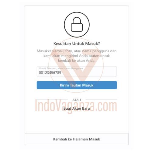 lupa password instagram tanpa email dan sms